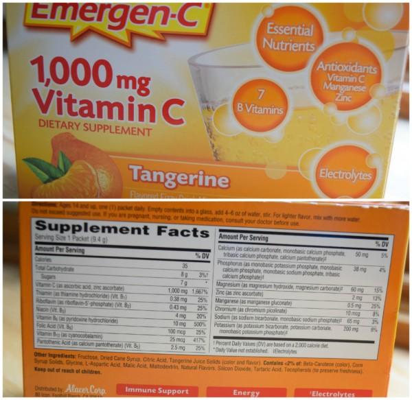 emergen c nutrition information